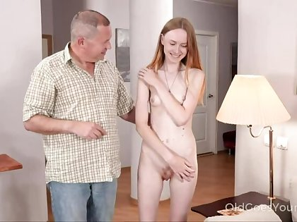 Skinny babe asks uncle for help and gets a fuck