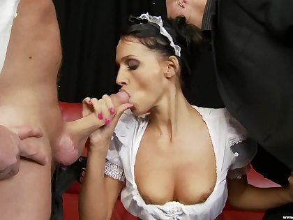 Live-in lover gets shared by two hard dicks