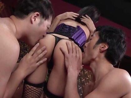Kinky MMF threesome with Kawai Asuna wearing fishnet stockings