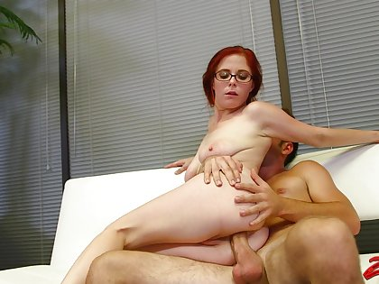 Redhead girlfriend Penny Pax with glasses moans during error-free sex