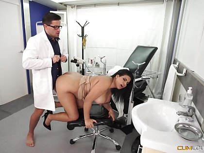 Busty Latina wife goes to the young doctor for a full check