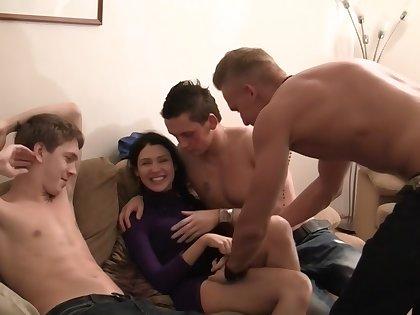 Elizabeth & Kamila & Marya & Sabina Gruda & Tanata in sexy chick gets fucked in a real establishing sex video