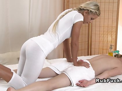 Cloudy lesbo gets massage all over tool