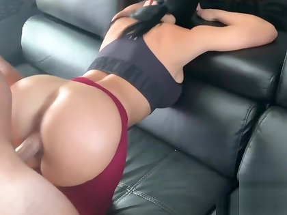 He ripped my yoga pants before fucking me and cumming in all directions from over my big tits