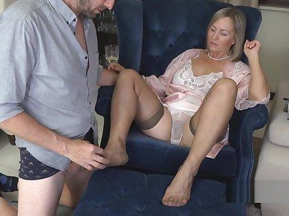 Nylon Foot job until he cums.