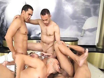 Guys gangbanged hard shemale slut