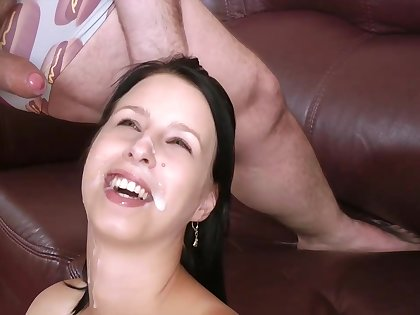 Comely brunette with Brobdingnagian boobs, Chrissy Harris is sucking their way partner's cock, while on the sofa