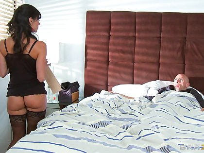 Horny mature wife Kendra Hot pants wakes him with reference to with a nice blowjob