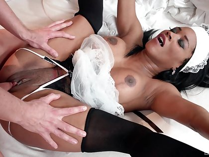 Ebony maid pleases master with say no to very tight cunt