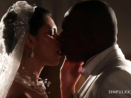 Romantic interracial sex with handsome bride Kira Chief honcho in stockings