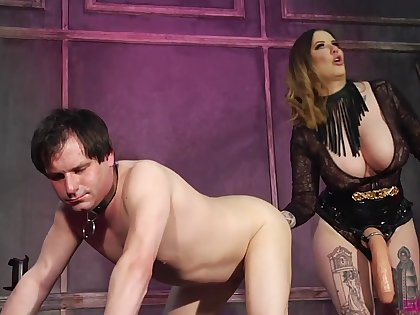 Dude finds himself under the control of a curvy dominatrix with thunder thighs