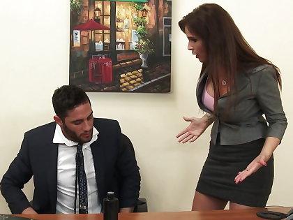 Down in the mouth milf boss Syren De Mer exploits employee for dick hd